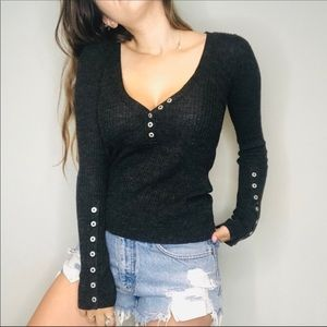 Free people gray ribbed button sweater